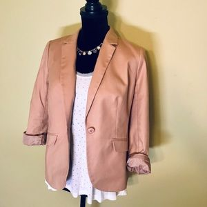 "Tan Fully Lined 3/4"" Sleeve One Button Blazer"